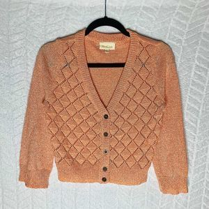 Modcloth Cropped Cardigan Quilted Button Front - M